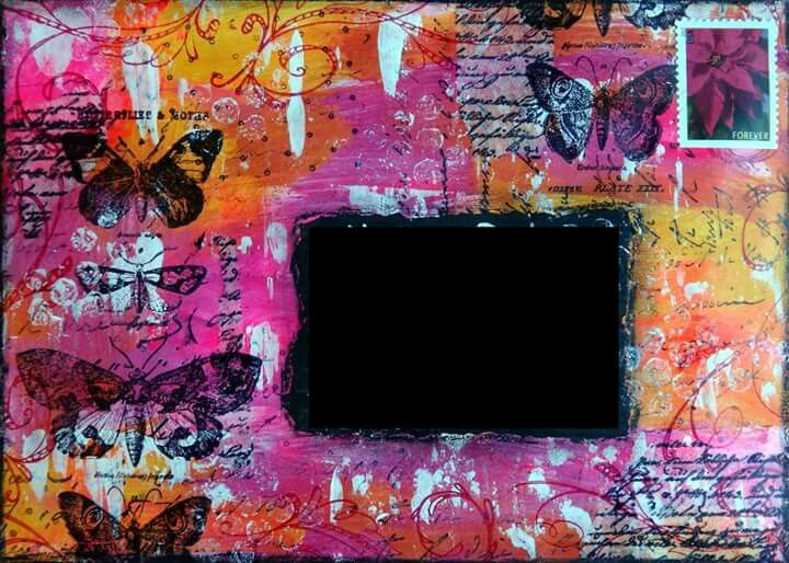 Mystic Tulip Mixed Media Art - mail art...