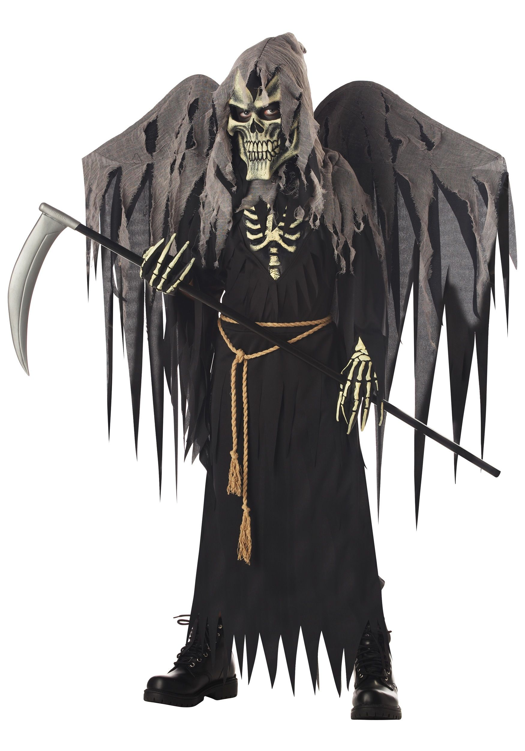 Kids Winged Grim Reaper Costume Classic Scary Costumes For
