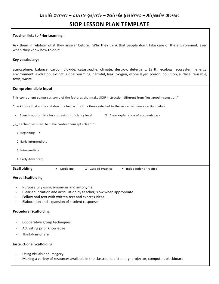 Siop Unit Lesson Plan Template Sei Model  Jitha