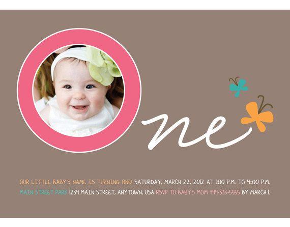 Birthday Butterflies First Birthday Invitation (Girl or Boy - invitation for 1st birthday party girl
