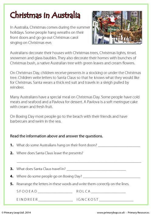reading comprehension christmas in australia worksheet holiday printable. Black Bedroom Furniture Sets. Home Design Ideas
