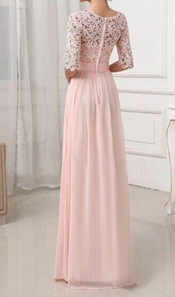 Rosa Damen Langarm Spitze MaxiKleid Lange Abendkleid Elegante Brautjungfern kleider  günstig 5acd354c3c