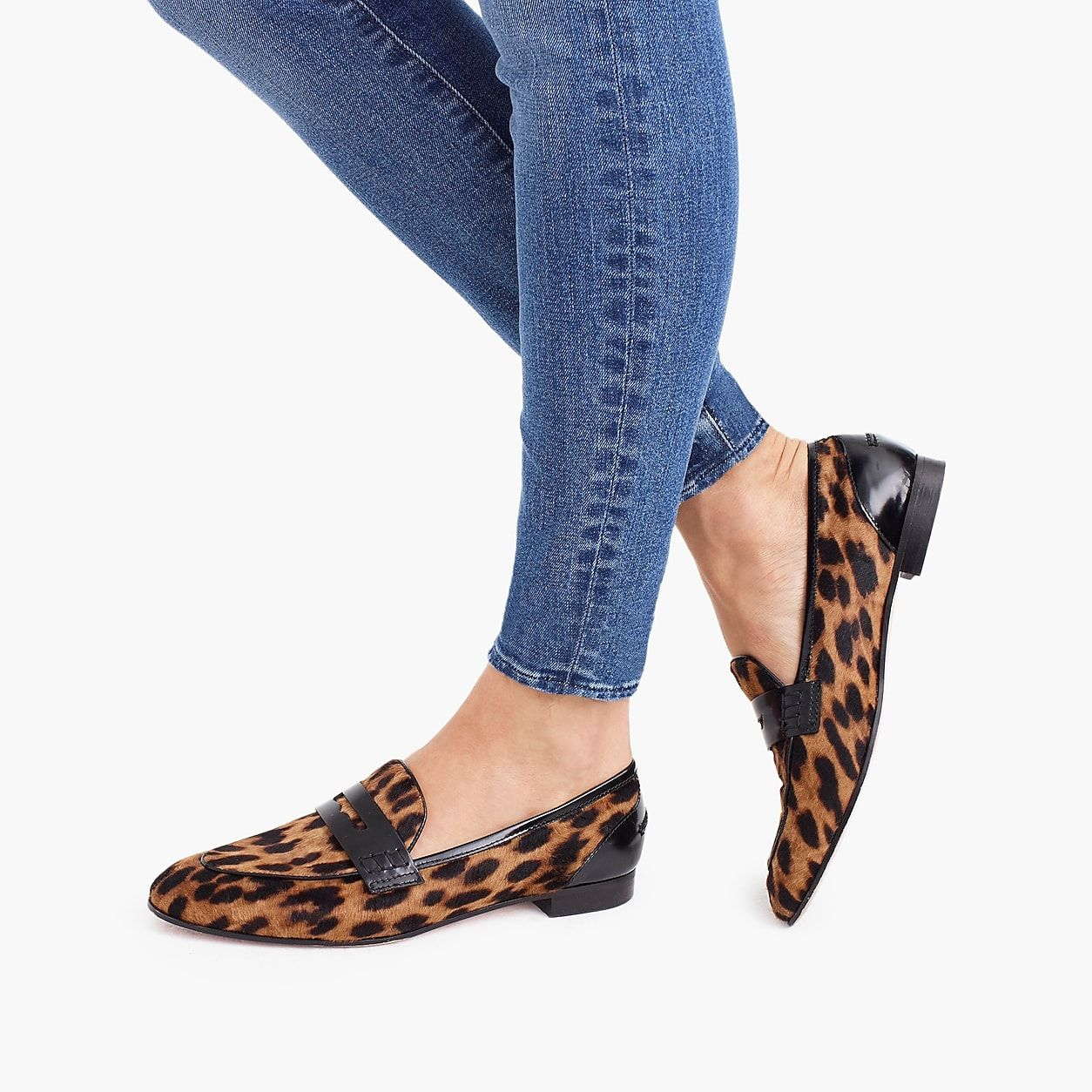 76698bf3e42 Academy Penny Loafers In Leopard Calf Hair