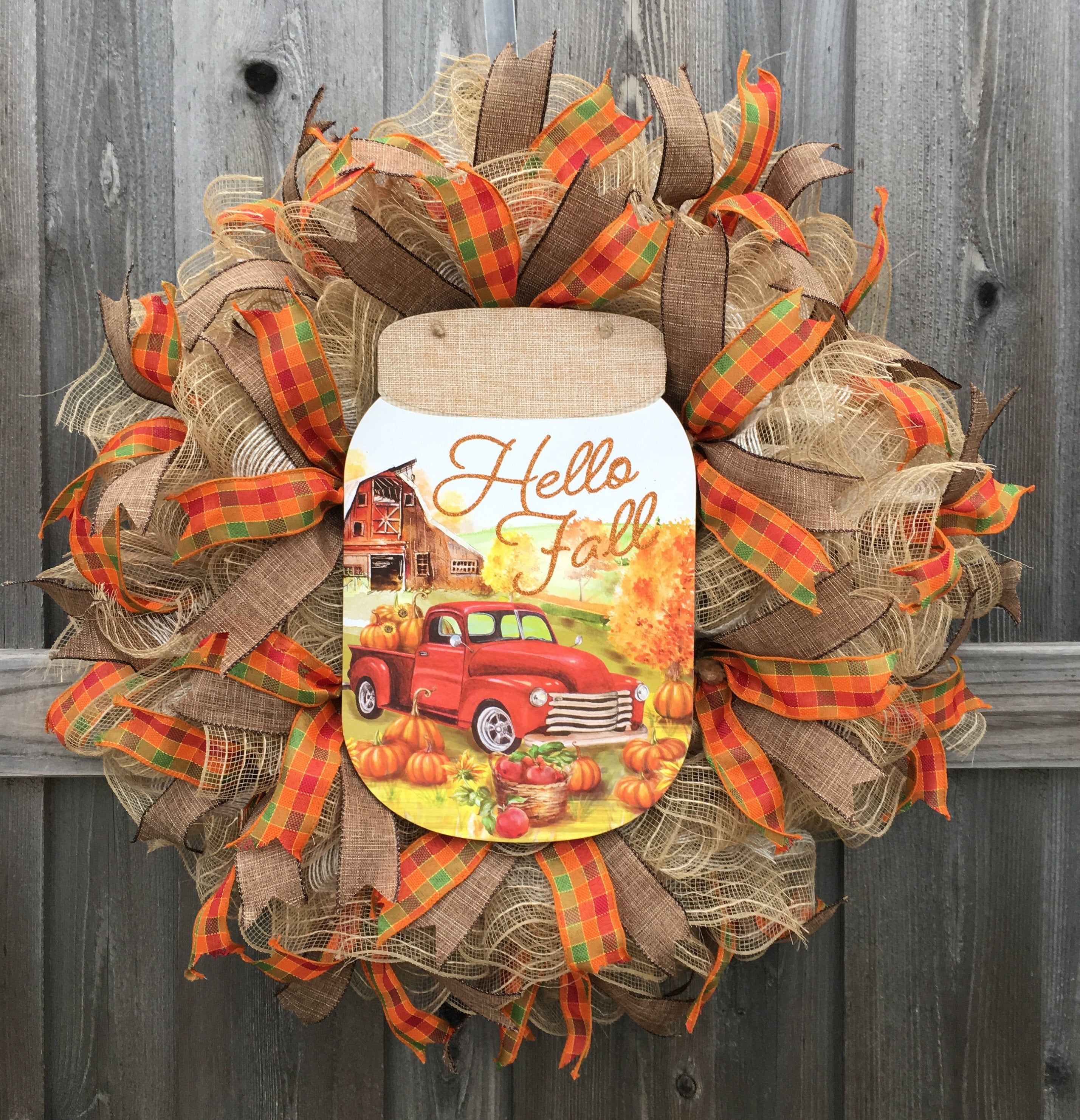 Photo of Autumn wreath, red truck wreath, autumn wreath, Thanksgiving wreath, farmer wreath, front door wreath, rustic country wreath