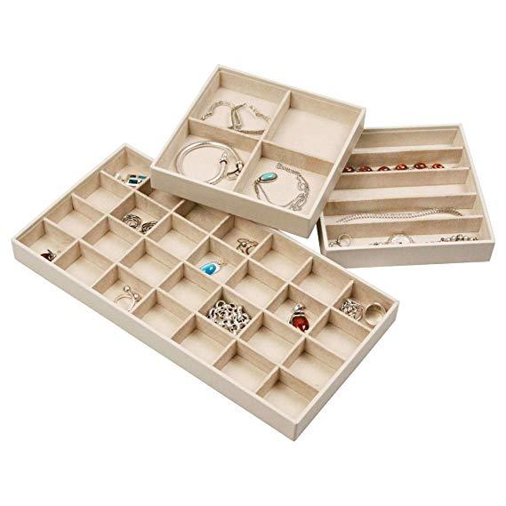 Amazon Com Stock Your Home Jewelry Trays For Drawers Stackable Jewelry Trays For Earring Necklace Jewel In 2020 Jewellery Storage Jewelry Tray Organizer Jewelry Tray
