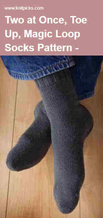 Two At Once Toe Up Magic Loop Socks Pattern This Free Knitpicks
