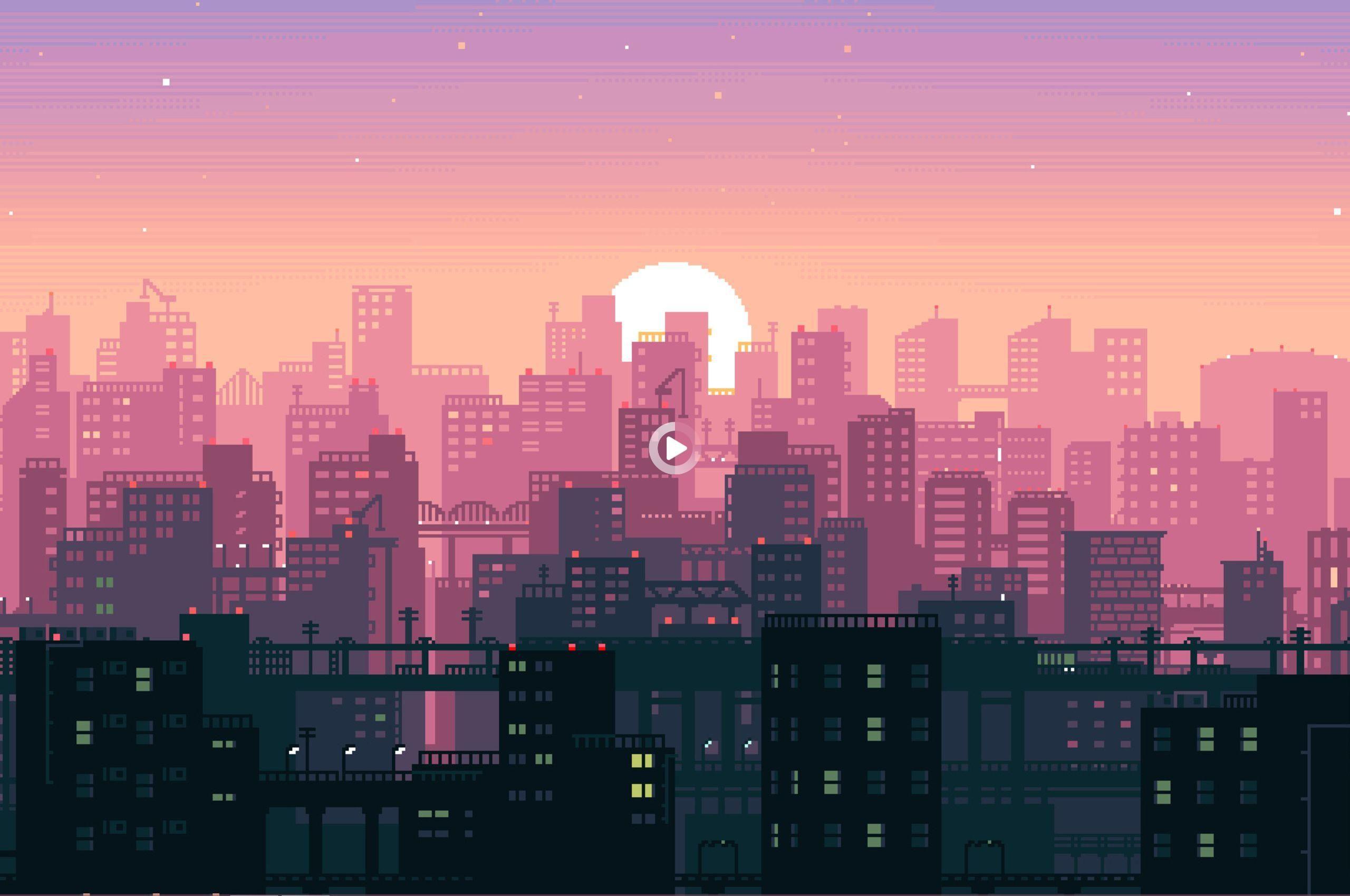 8 Bit Sunset Aesthetic Wallpaper Gif Pixel Art Background Building Illustration