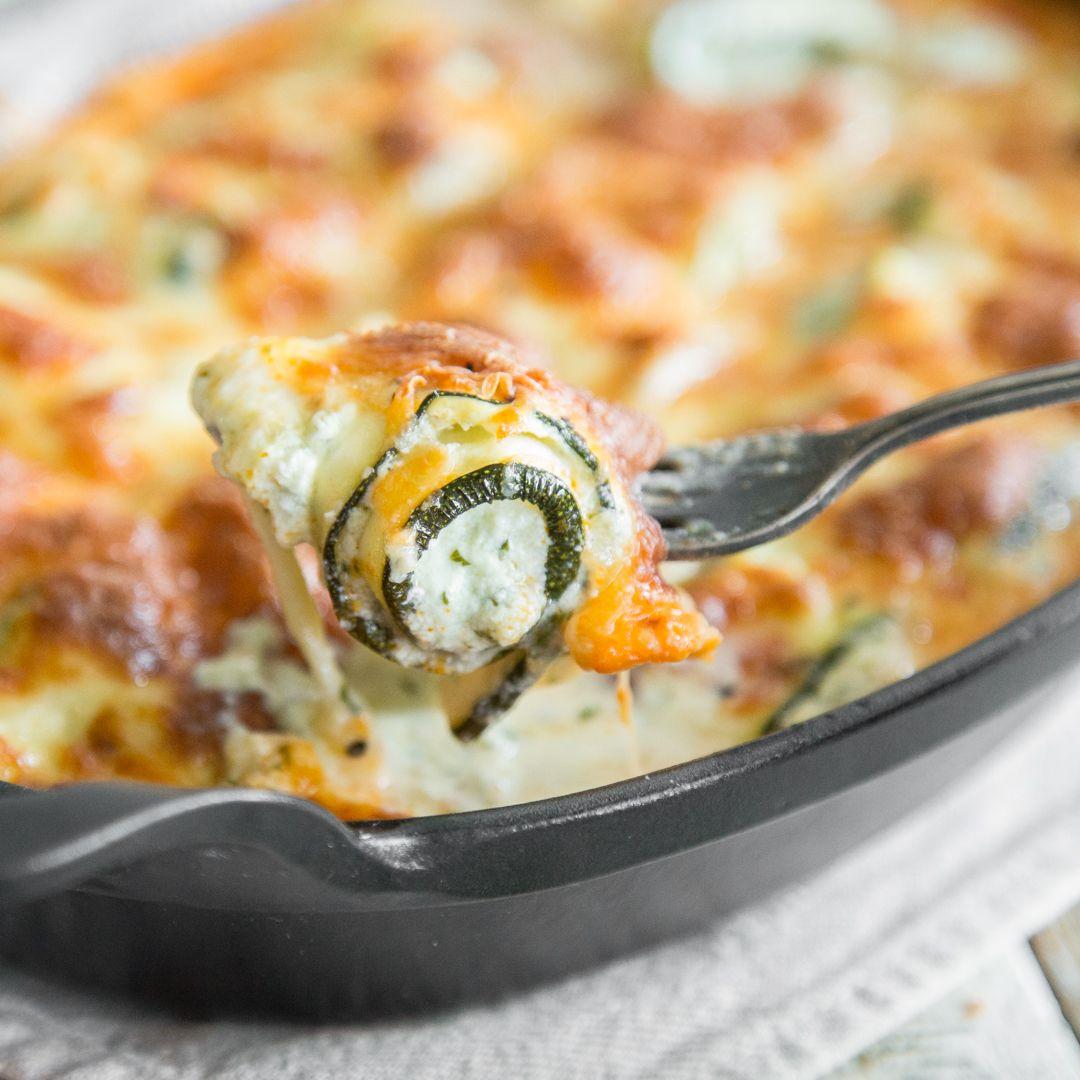 Zucchini-Röllchen-Auflauf mit Ricotta-Basilikum-Creme #babaganoushrezept