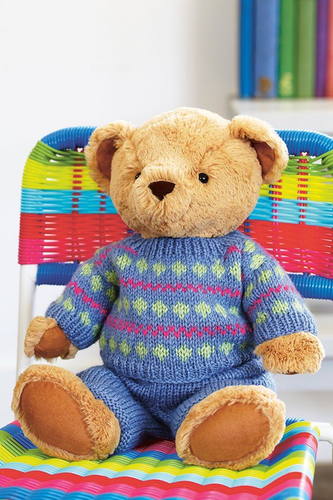 Teddy Jumper And Trousers Knitting Pattern | Knitted teddy ...