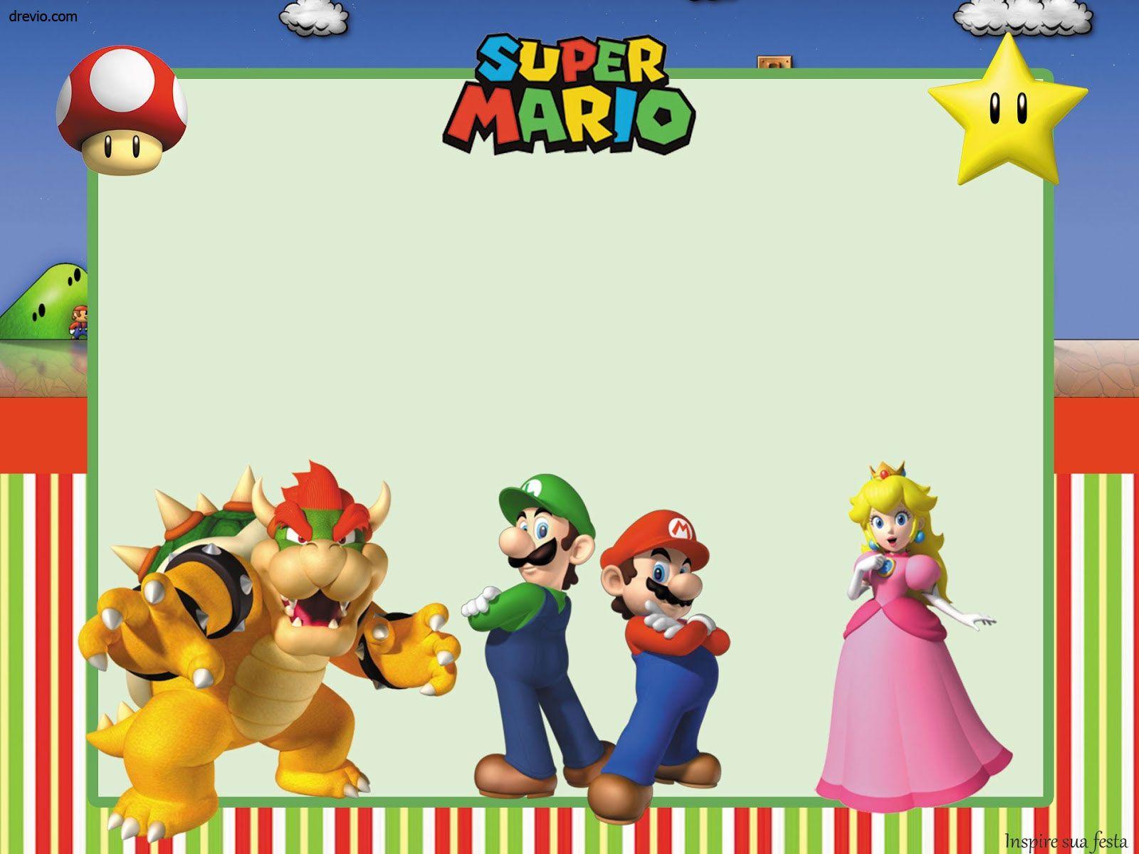 Get Free Printable Super Mario Bros Invitation Template Free