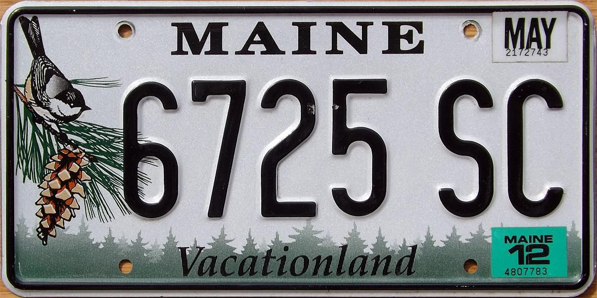 Maine, Vacationland License plate, Number plate, License