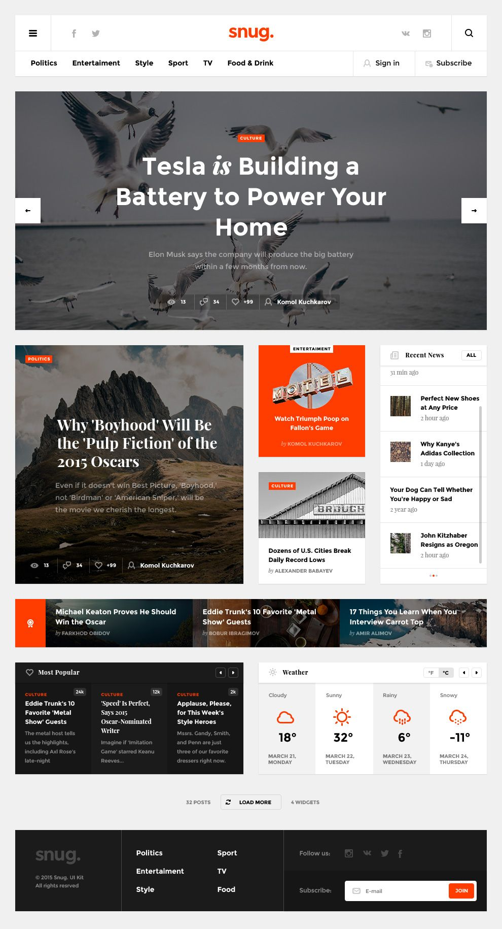 Snug - Creative Blog Website Template PSD Freebie. Versatile ...