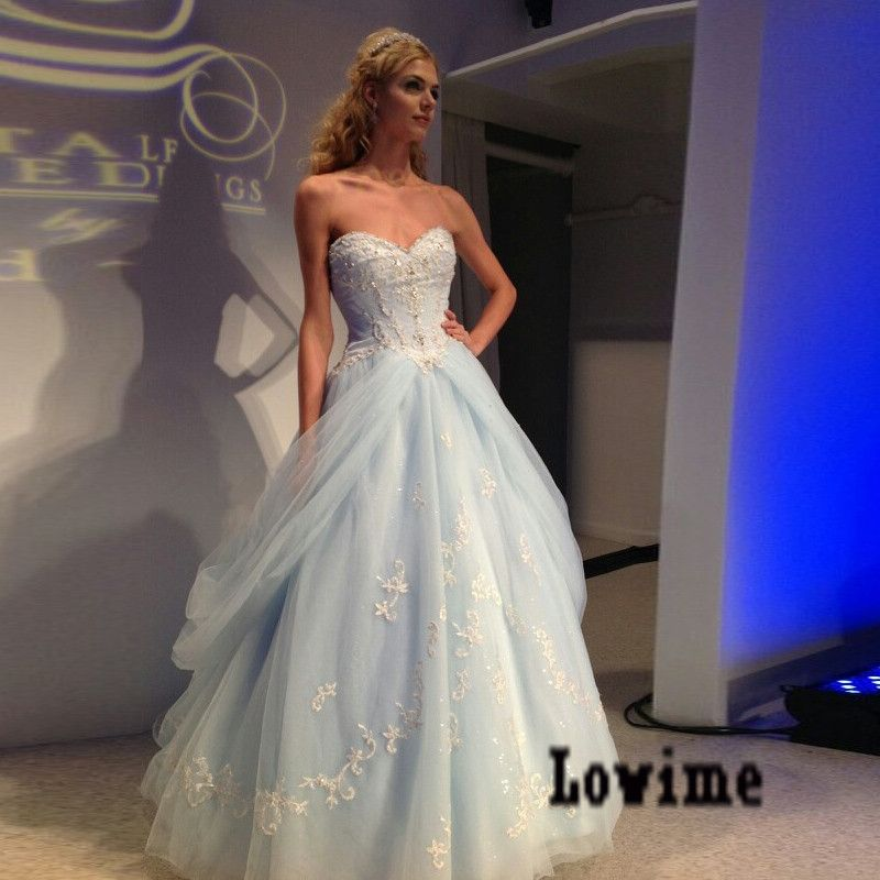 57caab87470 Light Blue Tulle Ball Gown Wedding Dress With By Dress Storm On Zibbet
