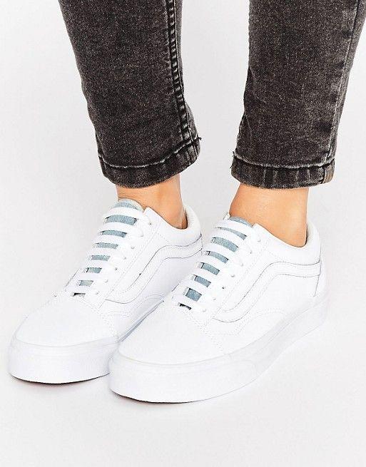 vans blanco leather