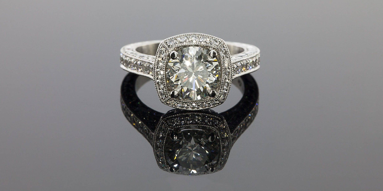 Jack Kelege 3.77CTW Diamond Halo Engagement Ring