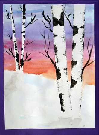 beautiful birch trees- use masking tape to block out trees and paint sky with water color