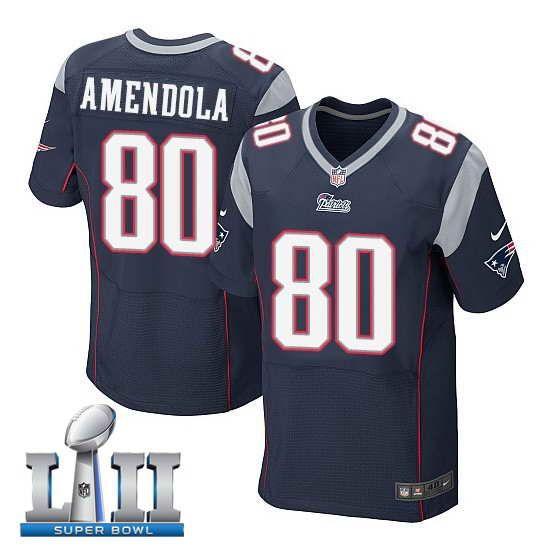 919661051 Men's Nike New England Patriots #80 Danny Amendola Stitched Navy 2018 Super  Bowl LII Elite Jersey