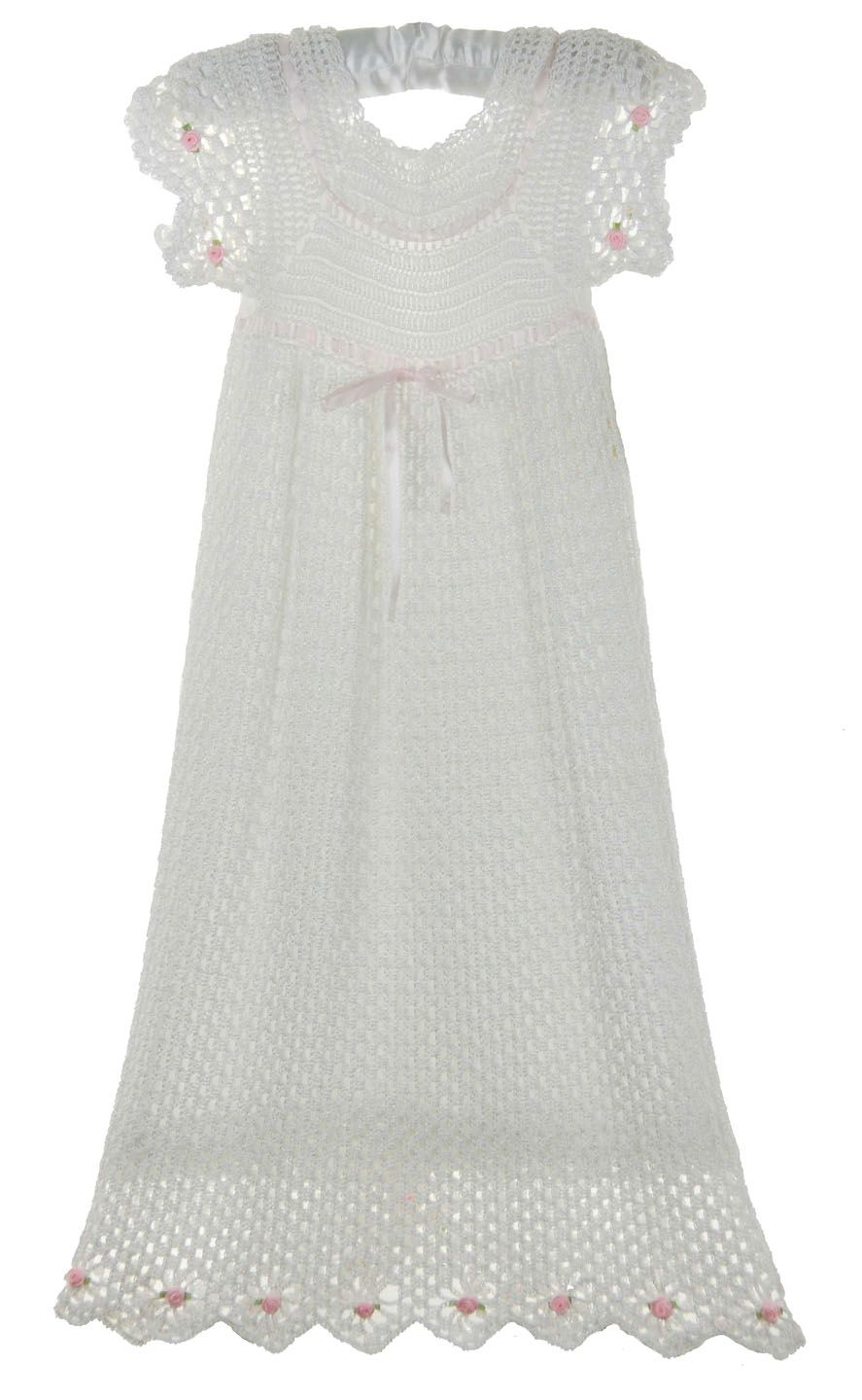 NEW Exquisite Custom Crocheted White Christening Gown with Pink Ribbons and Rosebuds $200.00 #ChristeningGown