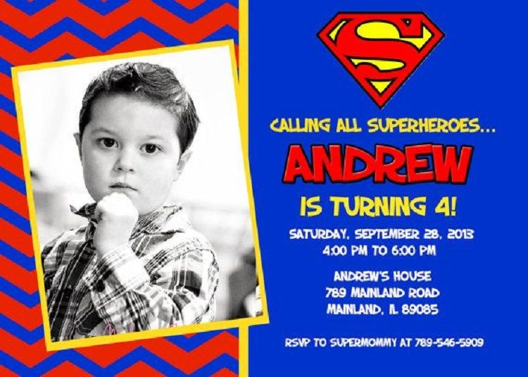 Superman Birthday Invitation Template Free Buick In 2019