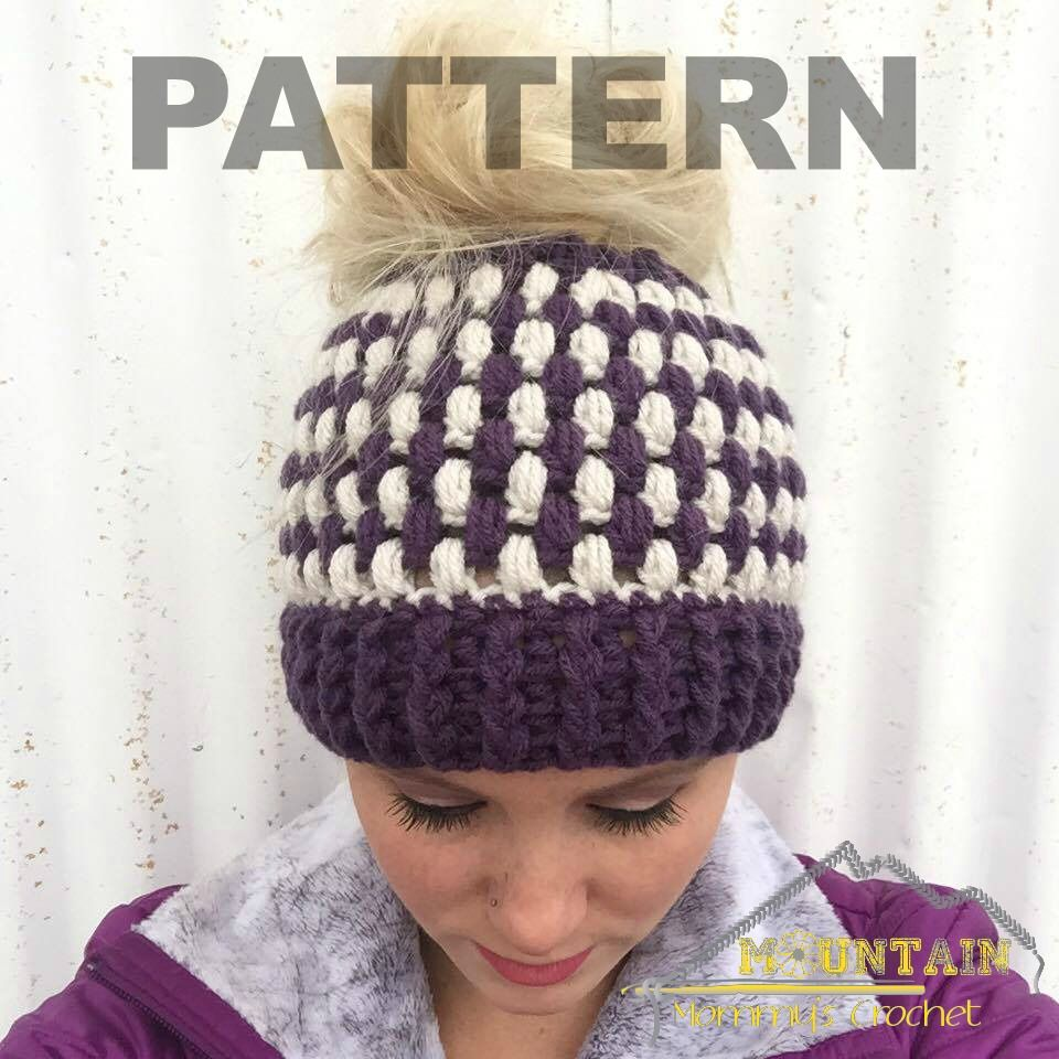 This puff stitch messy bun beanie is quick to work up, fits toddlers-adults and is super trendy right now! Find it here: http://chaosandbravery.com/puff-stitch-messy-bun-beanie/ Or directly download from Craftsy or Ravelry!