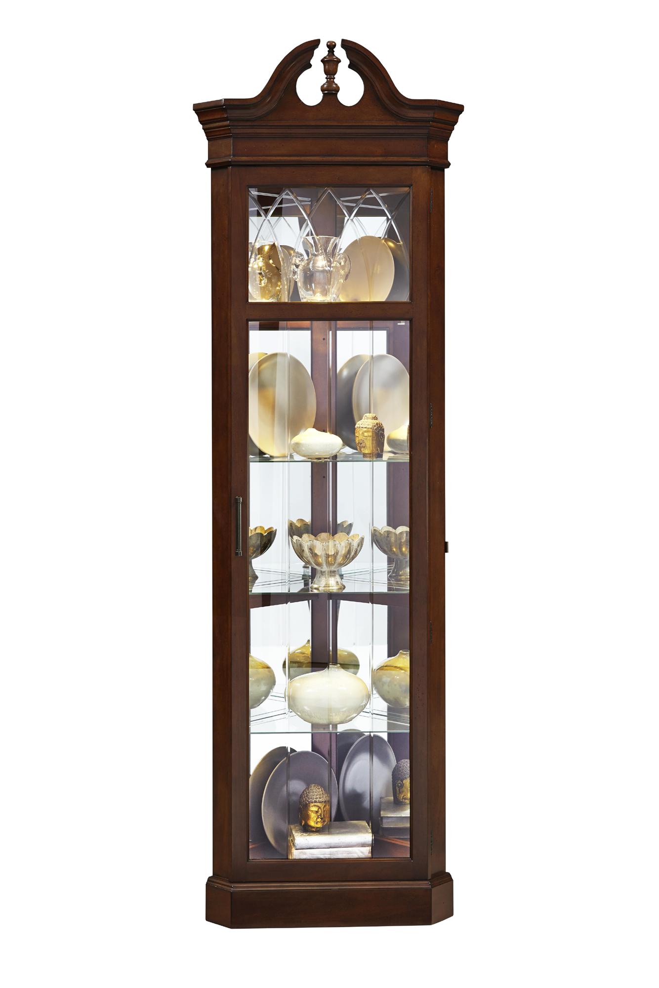 Split Pediment Corner Curio Cabinet Ski Home Gallery S
