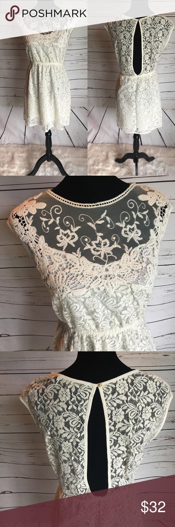 Zara medium lace dress fit u flare off white lace  My Posh Picks