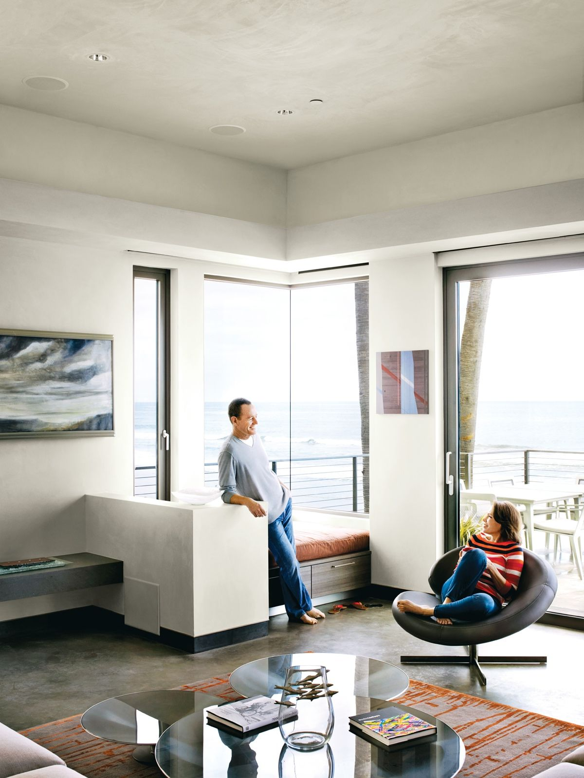 interior, Modern Home Design Ideas With Glass Window With Ocean View ...