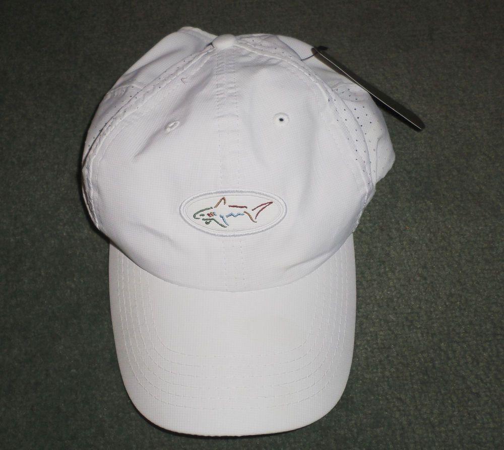 Men S White Red Greg Norman Shark Embroidered Golf Hat Adjustable Strap Nwt Gregnorman Baseballcap Hats For Men Hats Men