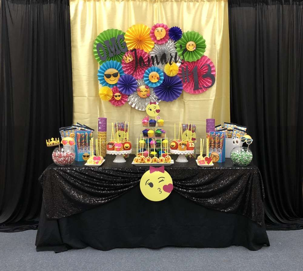 Check Out This Fun Emoji Themed Birthday Party What A Cool Backdrop See More Ideas And Share Yours At CatchMyParty Catchmyparty