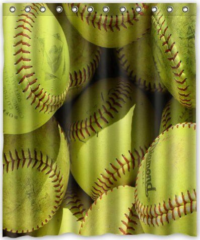 Funny Design Yellow Softball Shower Curtain 60w X 72h Generic Liners Amazon Dp B00YEZWTWY Ref