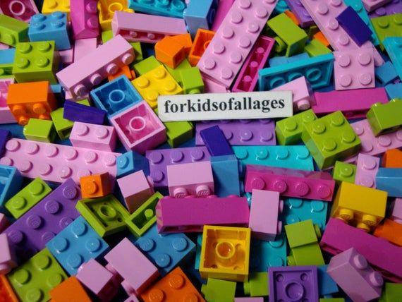 Bricks Blocks Plates+ 100 Bulk Lego Lot BRIGHT COLORS MIX Lime Green Orange