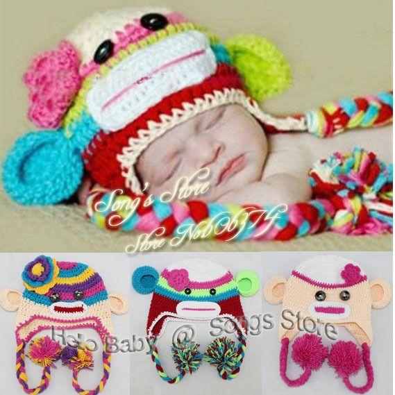 Crochet Pattern Multicolor Sock Monkey Hat Handmade Baby Hat Kids
