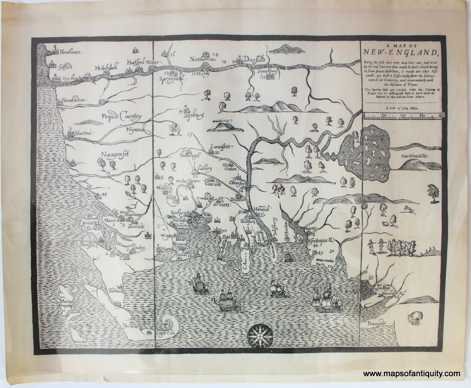 A Map Of New England Antique Maps And Charts Original Vintage