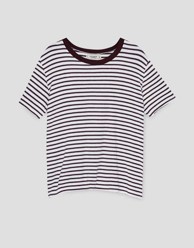 Cizgili T Shirt Kisa Kollu T Shirtler Giyim Kadin Pull Bear Turkiye Striped Top Women S Top Women