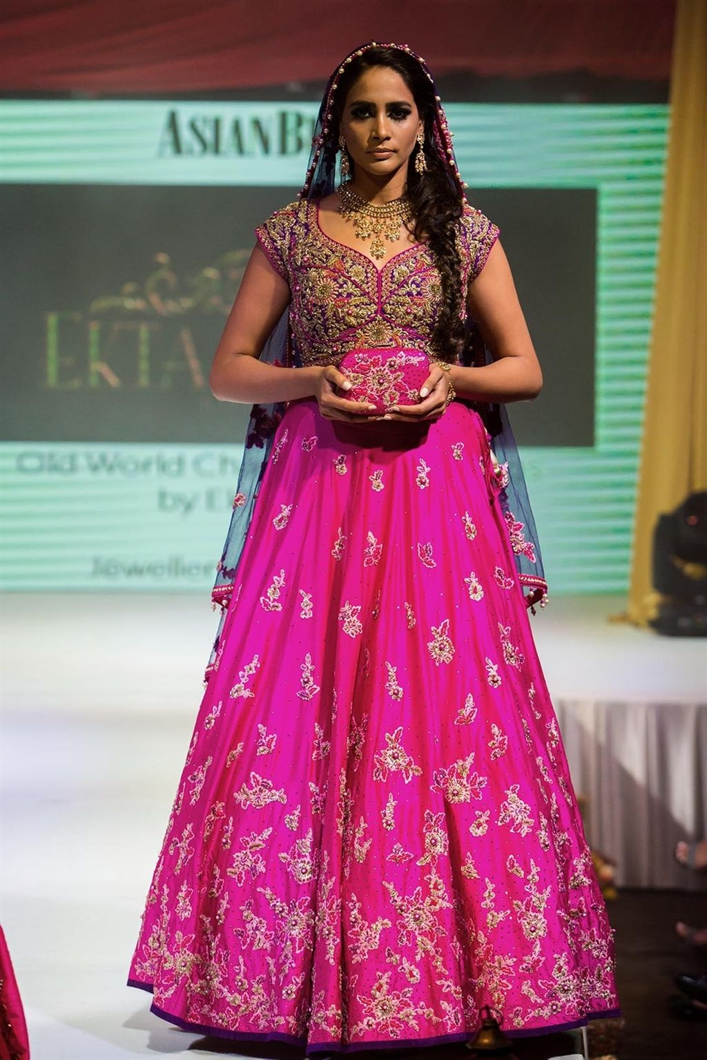 Asian Wedding Fashion Bridal Pink & Gold Lengha gown from Ekta ...