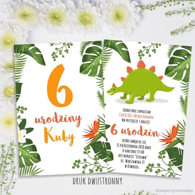 Dinozaur Zielony Zaproszenie Na Urodziny Zaproszenia