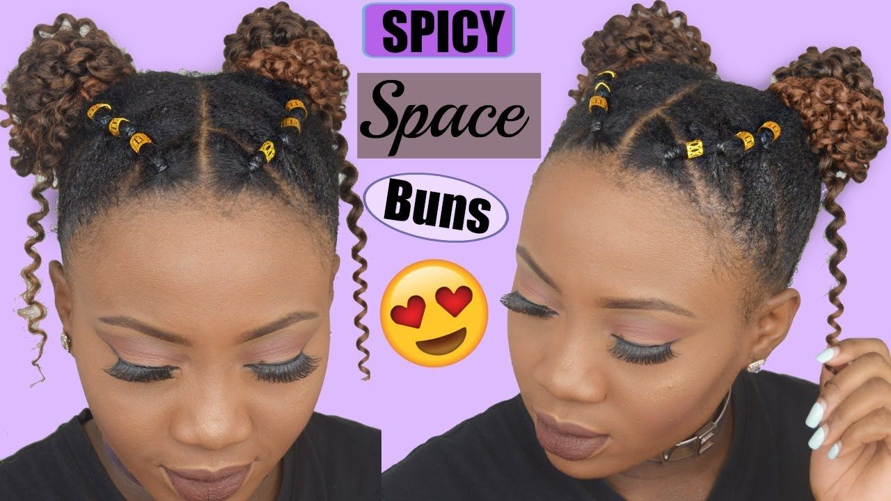 Hairstyle For Short Medium 4c B A Natural Hair Spicy Space Buns