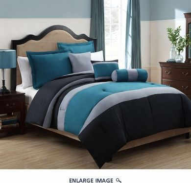 10 Piece Queen Tranquil Teal And Gray Bed In A Bag W 500tc Cotton