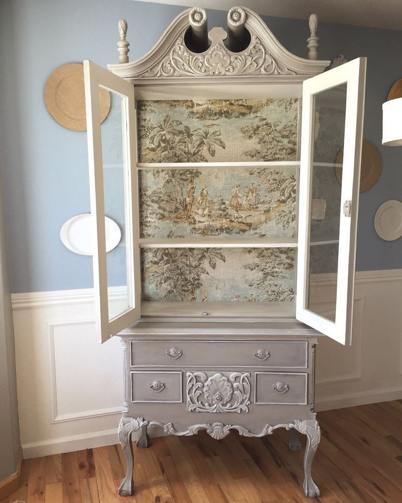 french country toile hutch shabby m bel bemalte m bel und m bel. Black Bedroom Furniture Sets. Home Design Ideas