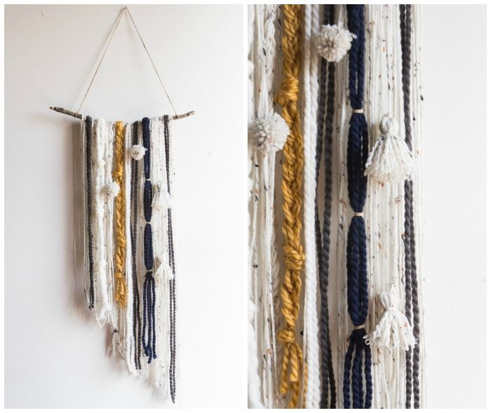Give your dorm windows some texture and color with this awesome DIY Yarn Tapestry. #plaidcrafts