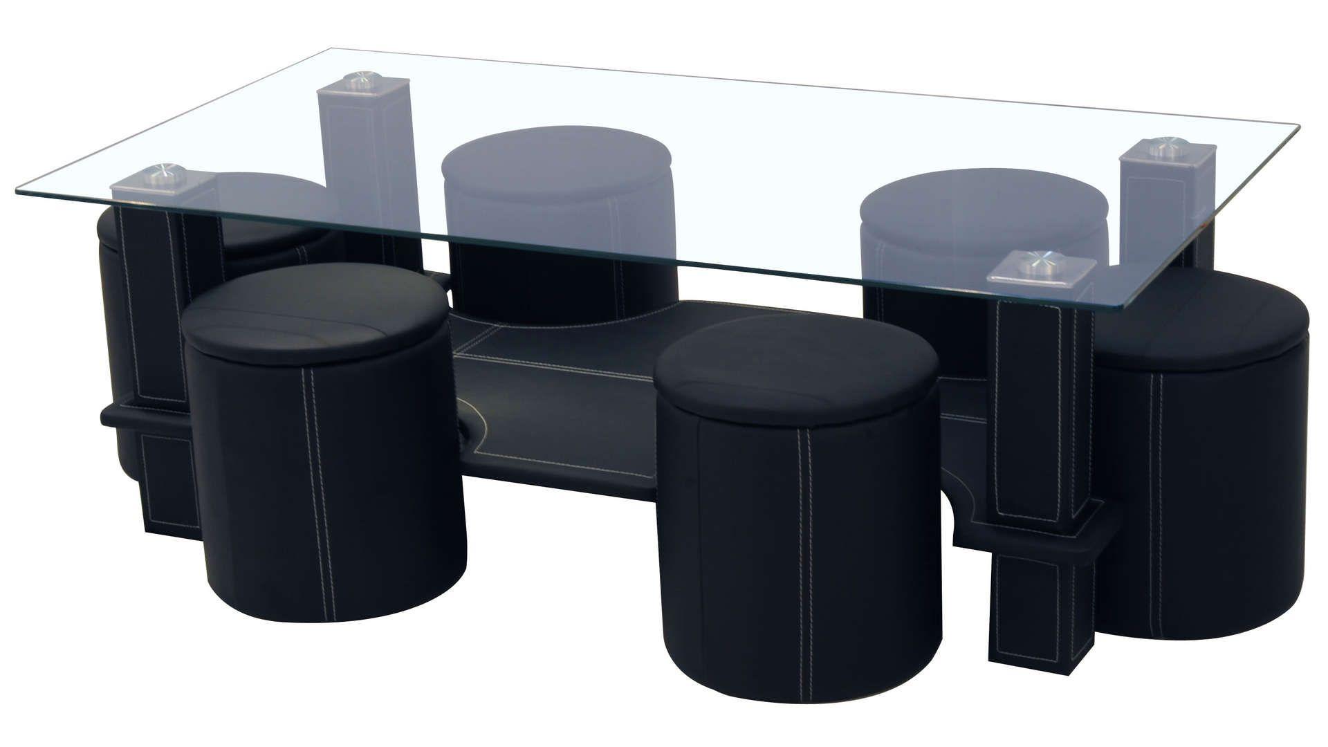 Table Basse 6 Poufs Sixty Coloris Noir Table De Salon Table Basse Pouf Table Basse Ovale Bois