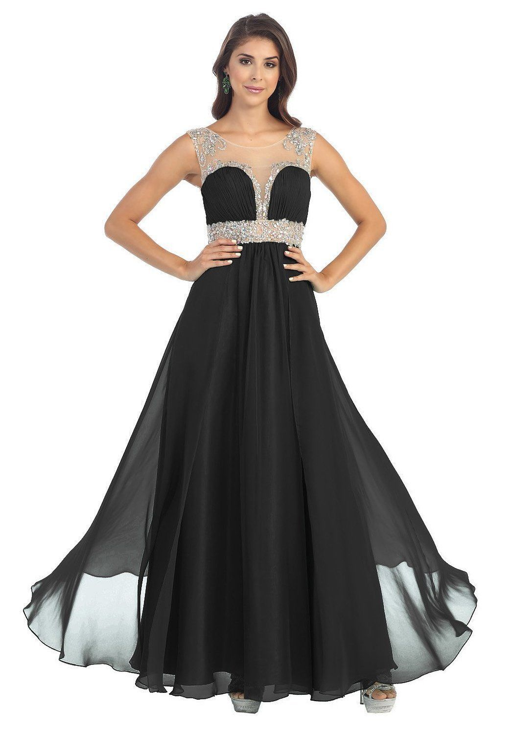 Prom Cap Sleeve Mesh Chiffon Formal Evening Long Dress Hand Beaded