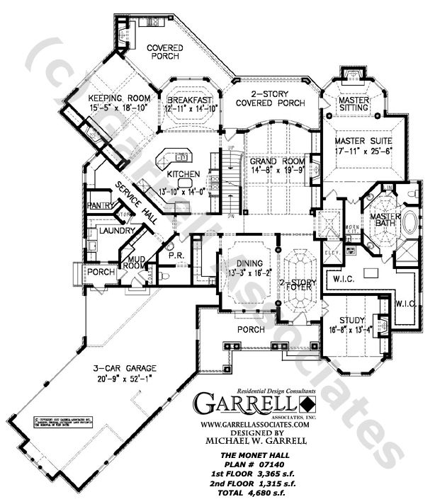 Monet Hall House Plan 07140 1st Floor Plan French Style House