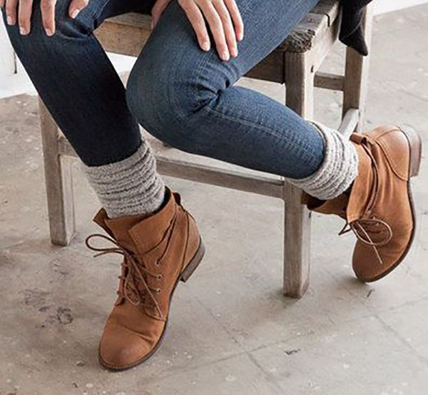 Wedge boots with socks. Super helpful with the constant effort to ...