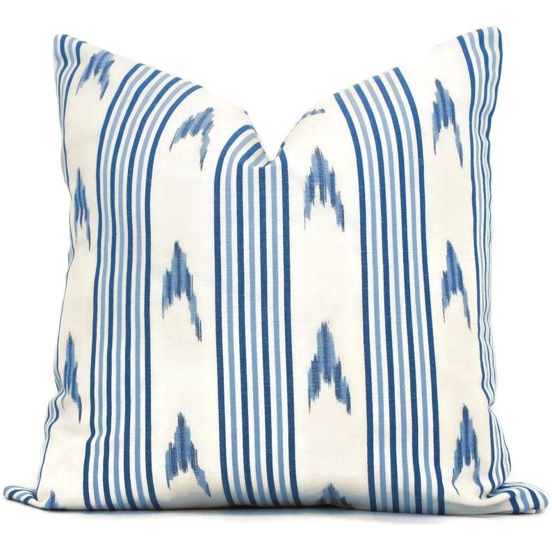 Blue or Pink Schumacher Pillow Cover