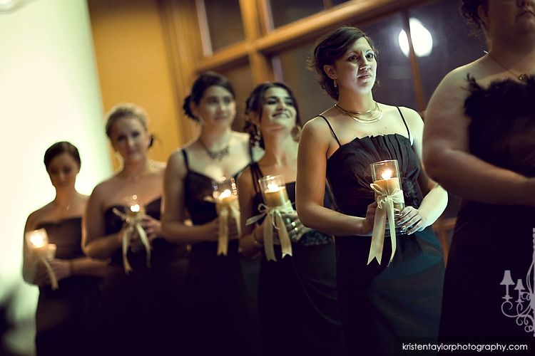 Instead of carrying flowers, bridesmaids could carry candles ...