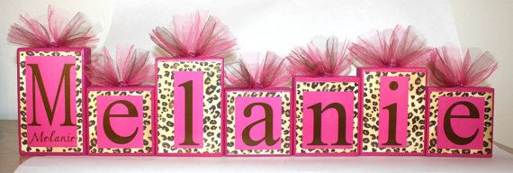 These are so cute!!! Leopard print and hot pink name blocks.. perfect for a baby's room.. These were made for a baby shower