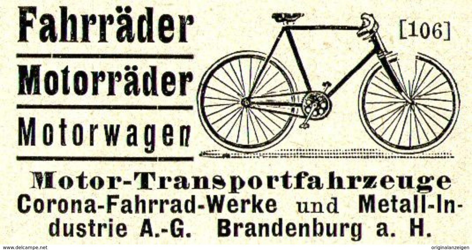 Original Werbung Anzeige 1907 Corona Fahrradwerke Brandenburg