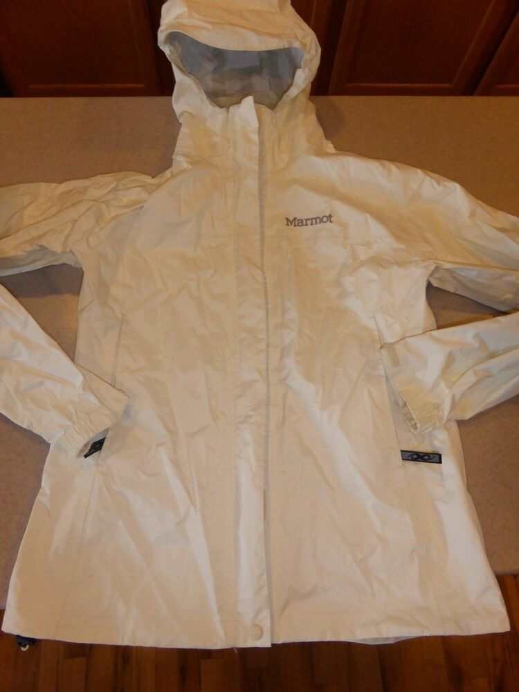 525c22c48d9d0 MARMOT WATERPROOF Rain Jacket Coat Hooded Off White Womens sz S Small   Marmot  Raincoat  Outdoor