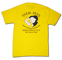Show you're a member of TEAM ALEX by wearing an official Alex's Lemonade T-Shirt. These 100% cotton tees feature front and back imprinted logos. Our classic yellow t-shirt.